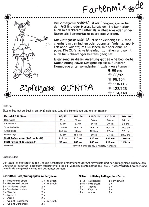 Farbenmix Schnittmuster QUINTIA - Zipfeljacke