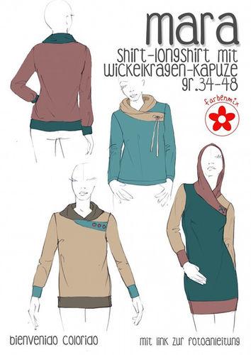 Farbenmix Bienvenido Schnittmuster MARA - Shirt/Longshirt
