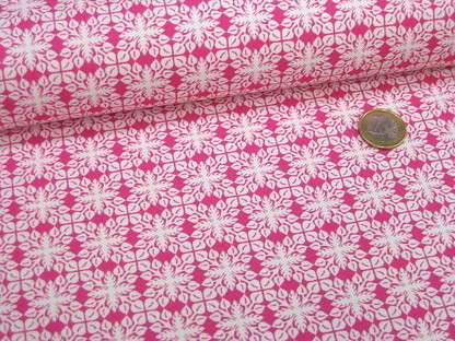 "Hilco Stretchjersey ""Surf Leaves"" A 3769/48 Pink Weiß"
