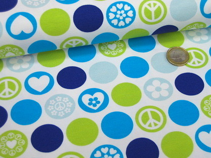"Hilco Stretchjersey ""Dots of Hope"" A 3822/2 Weiß Blau"