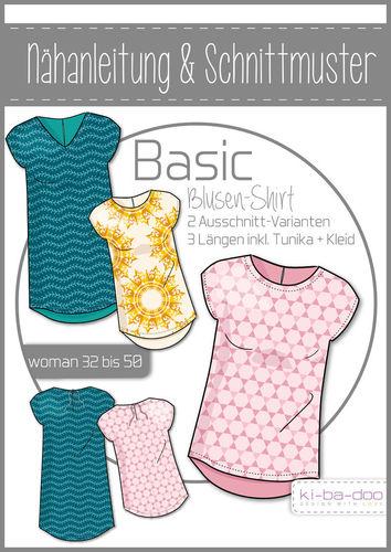 Damen Basic Blusen-Shirt - DIN A 0 Schnittmuster und Anleitung als ...