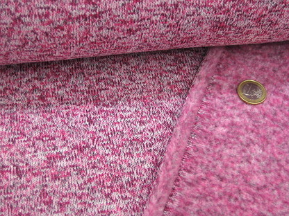 Strick-Fleece meliert 969960-46 Pink Weiß