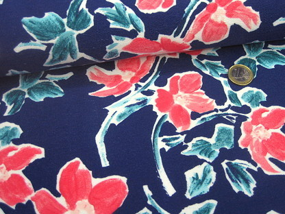 "French Terry ""Upside down"" floral 131.802-3009 Blau"