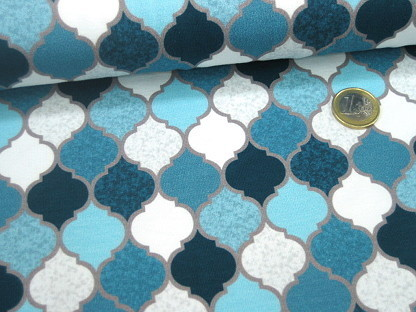 Swafing Stretchjersey MOROCCAN TILES 750253 Blau