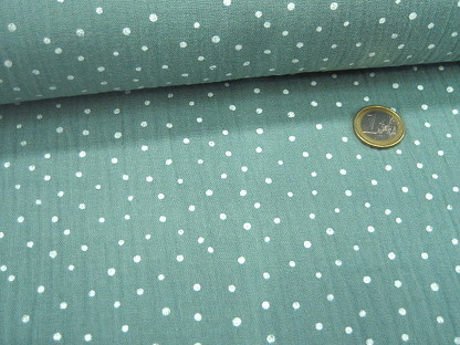 "Doppel-Gaze Musselin ""Little Dots"" 04671.025 Mintgrau"