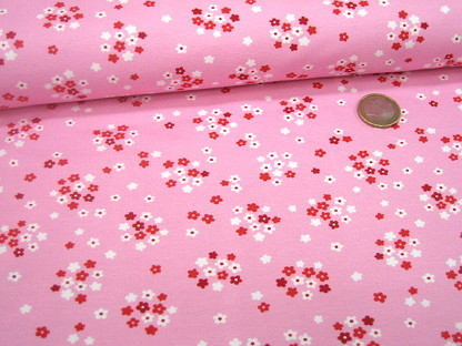 "Hilco Stretchjersey ""Fresh Fruits"" Blümchen A 3638/2 Rosa"